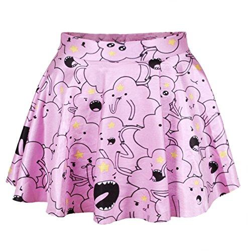 Ninimour-Fashion-Vestito estivo Retro Digital Print Vintage vestito Mini abito mini dress Minigonna Rock Skirt Lumpy Space Princess Taglia unica