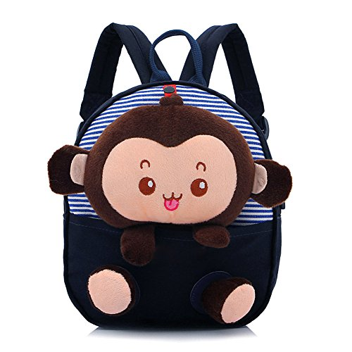 flyskying-cartoon-little-monkey-kids-backpack-canvas-baby-boy-girls-school-bag-deep-blue