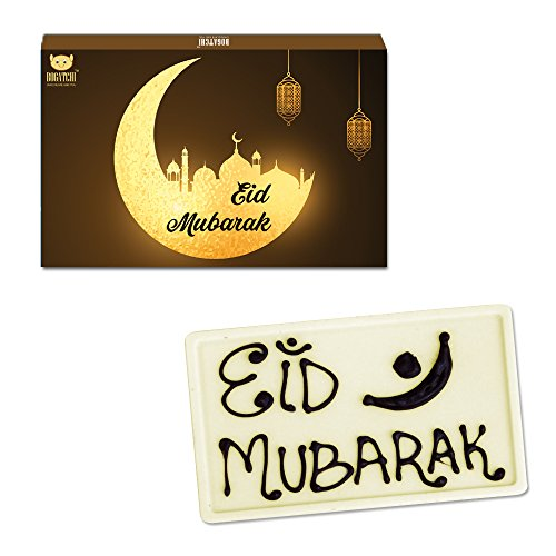 BOGATCHI Eid Gift for HUSBAND, Handcrafted Eid Mubarak White Chocolate Bar 80...