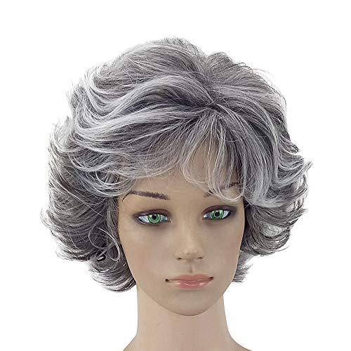 Ansenesna Perücke Grau Oma Kurz Locken Damen Kurzhaar Wig (Grau) (Queen Elizabeth 1 Kostüm Kinder)