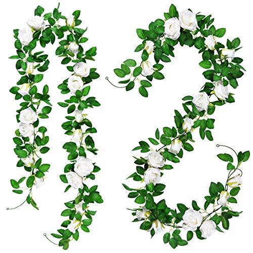 Alishomtll 2 x 2M Künstlich Blumengirlande Rosen Kunstblumen Seidenblumen Unechte Girlande Hängend Rebe für Zuhause Wand Hochzeit Deko Grün