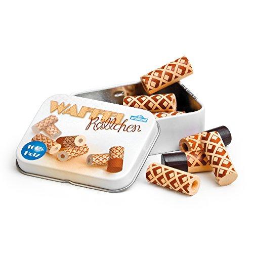 Erzi Waffelröllchen in una scatola di latta, legno wafer, cialde gioco, fatto...