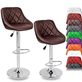 DWD-Company 2er Set Barhocker Barstuhl 10 Farben wählbar, 360° frei drehbar, Sitzhöhenverstellung 60-80cm (braun)