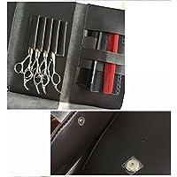 Anself Pro Bolsa de tijeras de cabello de peluquería de cuero estuche plegable para herramientas de peluqueros