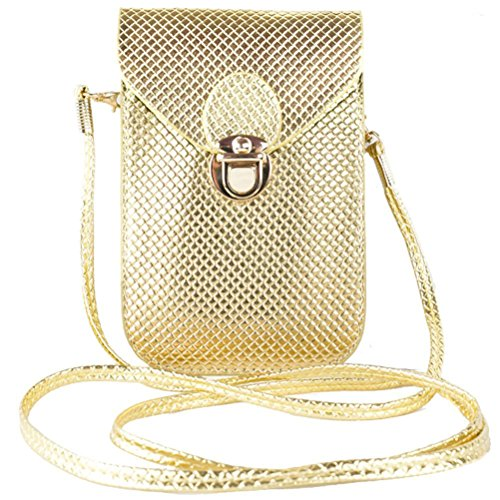 Honeymall Smartphone Universal Mini Umhängetasche (18x12x3cm) mit langem Riemen (130cm) geeignet für grosse Smartphones wie iPhone 7 Plus oder Samsung Galaxy A7 Mini PU Crossbody Handy Tasche Gold