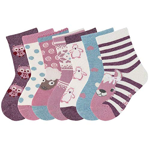 Sterntaler - Mädchen Söckchen 7er Box Baumwoll-Socken, helllila beige türkis Eule Schaf Lama Herzen - 8421953, Größe 23-26