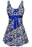 Summer Mae Damen Badekleid Geblümt  Spa Badeanzug Strandkleid Baden Swimwear ,Saphirblau (Einteiler),EU 44 = Etikett Größe  6XL