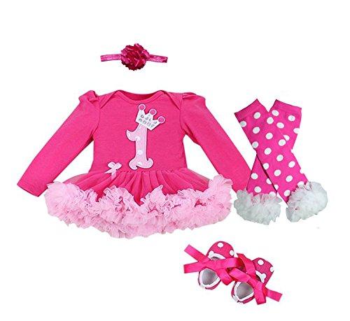 �ck Crown Muster Stirnband erste Geburtstag Tutu-Kleid-Schuhe (M/ 6-9 Monate, Heißes Rosa) (Schuhe Für Kleider)