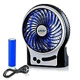 efluky 3 Geschwindigkeit Mini Handventilator Tragbarer Mini Lüfter Elektrischer USB Ventilator mit LED-Licht und Aufladbarem 2200mAh batterie , Mini handventilator leise für Außenbereich, Büro, Strand und Camping ventilator