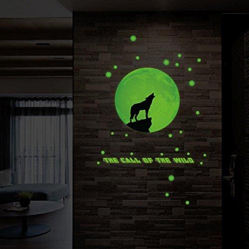 """Preisvergleich Produktbild DOLDOA Wandtattoo,Wandsticker Leuchtaufkleber für Kinderzimmer und Schlafzimmer (252 pcs(0.8x0.8"""";0.6x0.6"""",0.4x 0.4"""";1 moon 3.2 x 3, Grün - Runde Punkt) (30*35CM, Wolf)"""