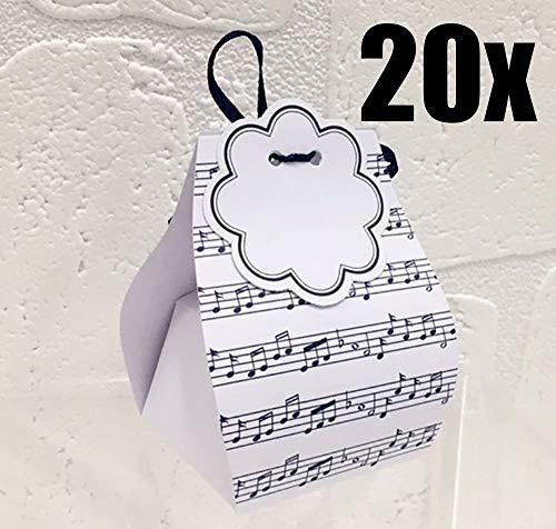 20 pezzi portaconfetti sacchetto blu spartito musicale nastro escluso con bollino scatolina carta bomboniera