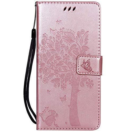 Hancda Hülle für Xiaomi Pocophone F1, Schutzhülle Leder Tasche Flip Case für Xiaomi Pocophone F1 Handy Hüllen Lederhülle Magnet Cover für Xiaomi Pocophone F1,Hülle Rose Gold