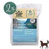 Wildes Land | Trockenfutter für Hunde | Nr. 6 Forelle & Lachs | 24 kg | mit Kartoffeln und Wildkräutern | Glutenfrei & Hypoallergen | Extra viel Fleisch Akzeptanz und Verträglichkeit
