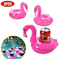 Brain Game WOQOOK 3Pcs Flamingo Inflatable Drink Holders Float Coasters Pool Floating Toys Party Supplies- Rosy