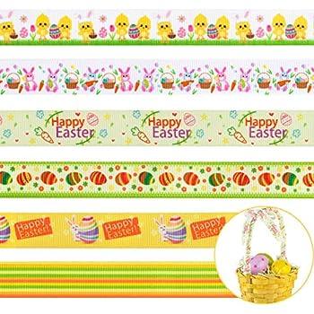 Multi colour Easter egg bunny 16mm grosgrain ribbon decorative bonnet ribbon