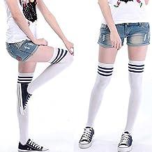 Demarkt Calcetines Japoneses de Tubo alto Sobre Medias Hasta la Rodilla Calcetines a Rayas Blancos y