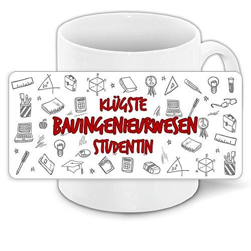 Tasse für-Studenten mit Motiv - Klügste Bauingenieurwesen-Studentin - | Studenten-Geschenk | Studenten-Tasse