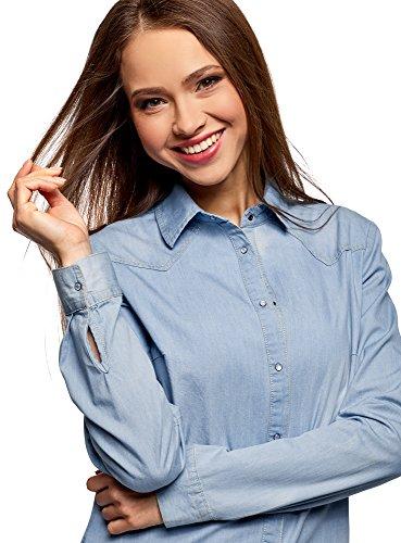 oodji Ultra Femme Chemise en Jean à Boutons-Pression Bleu (7000W)