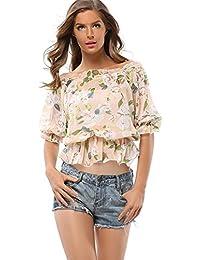 EOZY Femmes Casual Imprimé Tops Elastique Blouse Epaule Nue T-Shirt Tunique