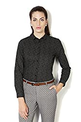 Allen Solly Womens Button Down Shirt (AWTS316R00298_Black with White_XL)