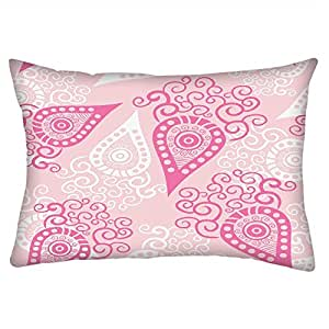Snoogg Pink Pattern Rectangle Toss Throw Pillow Cushion Cover Decoarative Pillow Case 14 x 22""