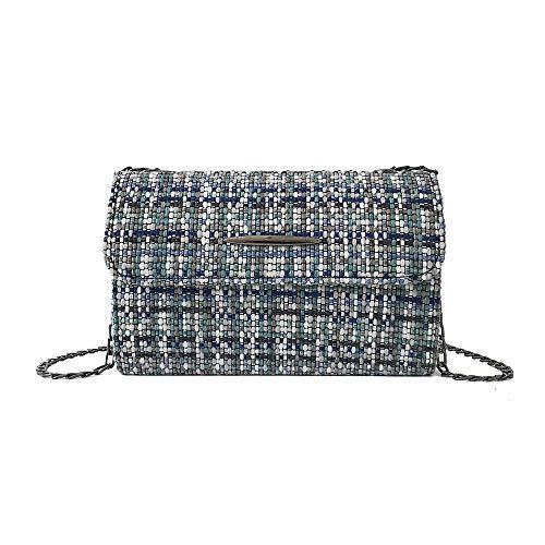 Bfmyxgs Fashion Mini Square Tasche für Damen Mädchen Weiche PU Gestreift Braun Grau Rot Blau mit Deckelverschluss Kettenriemen Kette kleine Tasche vielseitig Ulzzang Clutch Bag Messenger Bags Totes