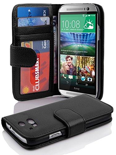 Cadorabo Coque pour HTC One M8 (2. Gen.) en Noir DE Jais - Housse Protection avec Fermoire Magnétique et 3 Fentes Cartes - Portefeuille Etui Poche Folio Case Cover