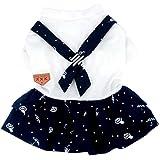 smalllee_lucky_store Small Dog Sailor costume ragazzo tuta intera ragazza vestito Matching Outfits stampato cucciolo vestiti (Fit per roditori)