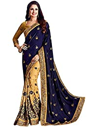 Glamant Women's Georgette Heavy Work Designer Saree With Blouse Piece (1010_Blue & Beige)