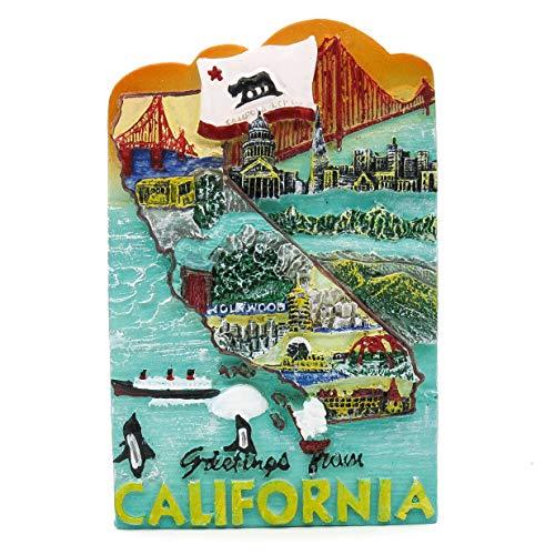 Anziehungskraftkarte von San Francisco Kalifornien USA Amerika 3D Handgemalter Harzmagnet Golden Gate Bridge Insel Alcatraz Park PIER 39 Palast der schönen Künste Twin Peaks Painted Ladies Orange