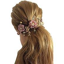 Decoshop Tocado pelo boda diadema novia color rosa dorado 4bd505d5eff7