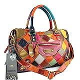 S-Kiven EZOLY - Bolso de mano de piel auténtica, multicolor, diseño de patchwork, multicolor