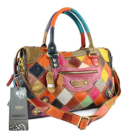 EZOLY Multicolour Patchwork Real Leather Bag Handbag Shoulder Bag Cross Body Bag Hobo bag