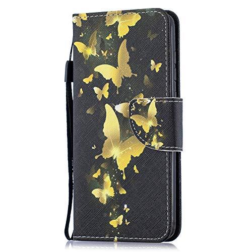 Coopay Slim Flip Bunt Schutzhülle für Motorola Moto G7 / G7 Plus Mädchen Hülle,Standfunktion Brieftasche Ledertasche,Kartenfach Kunstleder Handyschale,Elegant Schwarz Gold Schmetterling +Schlüsselband