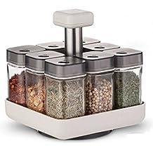 Rotierendes Gewürzkarussell Pico mit 8 Gewürzgläsern (ohne Inhalt) der Marke Coninx | Gewürzständer aus Glas/Kunststoff | Alle Lieblingsgewürze immer ordentlich und griffbereit | Gewürzregale |