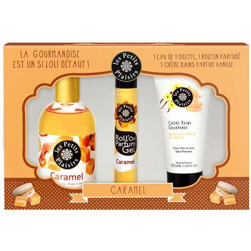 Les Petits Plaisirs Coffret Eau de Toilette Caramel 110ml + Roll 'on Gel 20ml + Crème pour Mains 50ml
