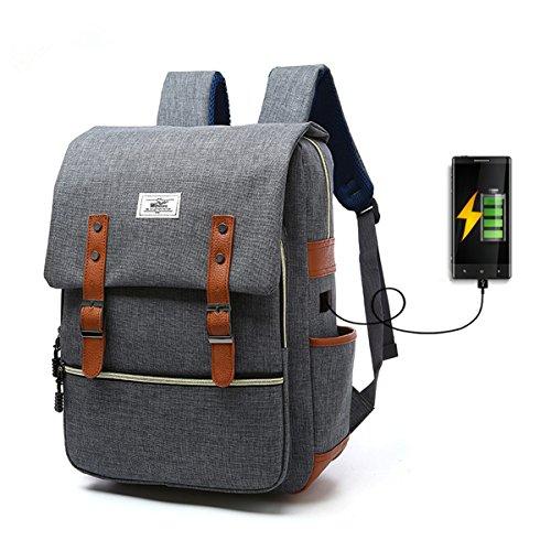 Sac  dos Ordinateur Portable Tezoo Impermable Super lger 30L Backpack avec Prise USB pour cole tudiant Homme Femme Business - Gris