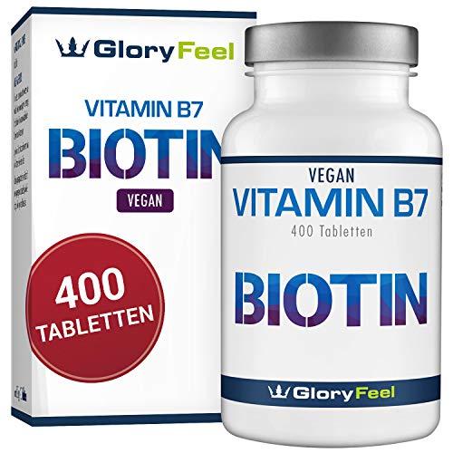 GloryFeel® Biotin Haar-Vitamine 10.000 mcg – VERGLEICHSSIEGER 2019* – Haut Haare & Nägel-Kur für über 1 Jahr – 400 vegane Tabletten Hochdosiert – Laborgeprüfte Herstellung in Deutschland