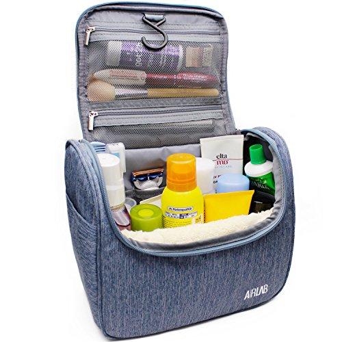 Trousse sac trousse de toilette cosmétiques, avec crochet et poignée, taille: 24 x 19,5 x 12,5 cm, Denim-Bleu