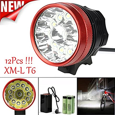 Bicycle Light, TopTen 12x T6 LED 12000 Lumens 3 Modes Ultra Bright Bike LED Headlamp Head Flashlight with Rechargeable Battery and Charge -