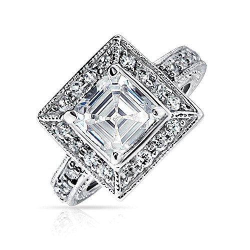 Bling Jewelry 2 CT Art Deco Stil Zirkonia Milgrain Asscher Cut Square Halo AAA CZ Engagement Ring Sterling Silber Promise Ring - Ring Engagement Cz 2ct