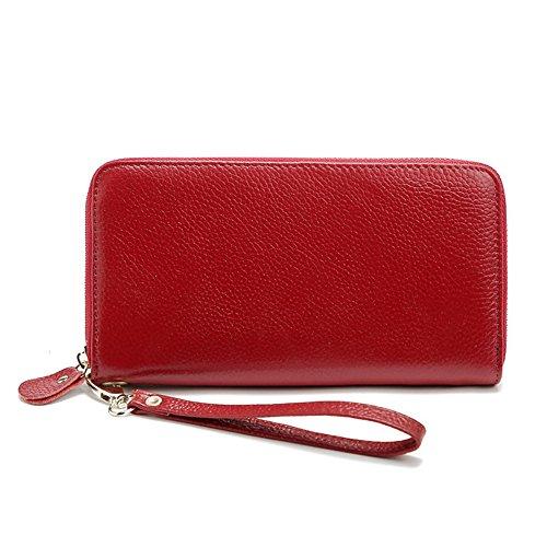Gendi Vera Pelle Borsa lunga femminile Portafoglio Donne Pocket Donna con Zipper Pocket (rosa) rosso