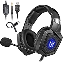 for Xbox One Headsets, Cocoda Gaming Headset with Microphone, RGB LED Light, Soft Memory Earmuffs, Noise Canceling Gaming Headphones for PS4 / Nintendo Switch / Laptop / PC / Computer / iPad