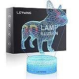 Lorwing 3D vista notturna luce LED illusione lampada da tavolo in 11modalità di commutazione 7colori disponibili con carta regalo, Acrilico, Crack - Bulldog, Crack Base 0.50watts 5.00volts