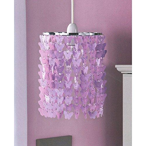 Girls Bedroom Pendant Light Fitting Butterfly Chandelier Purple - Bedroom light fittings uk