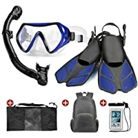 ODOLAND 6-en-1 Snorkel con máscara de Buceo con Vista Amplia, Dry Top Snorkel Big Eyes Evolution & Kappa Ultra Dry Schnorchel - Pack de Snorkel (L)