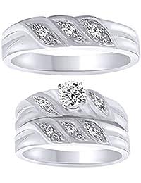 Silvernshine Brilliant Round Sim.Diamond 14K White Gold Fn 925 Silver Trio Engagement Ring Set