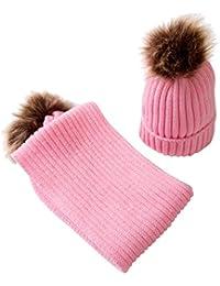 perfk Bambini Neonati Cappello Del Beanie Knit Cappellini a Maglia Berretti  da Caldo Inverno con Sciarpa b798d63b7017