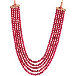 Kastiya Jewels Five Layer Ruby Red Coloured Jade Quartz Gemstone Beads Kanta Necklace Mala For Women