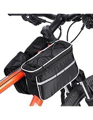 4-en-1 Bolso de Múltifunciones de Bicicleta Bolsa de Tubo Bici con Banda Reflectante y Cubierta de Lluvia ( Color : Negro )